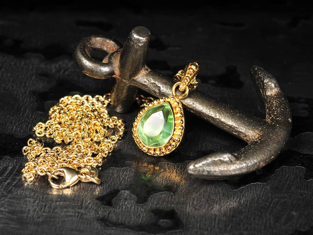 Green Tourmaline Amp Gold Pendant Gold Handmade Jewelry